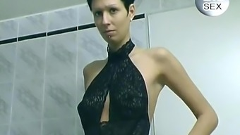 Shorthair Brunette Plays In The Bathroom - Free Porn Videos - Youporn