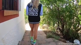Cute Cheerleader Happily Milking 3 Loads Of Cum On Her Tits And Is Really Happy - Yummycouple