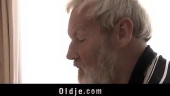 Sick Cute Teenie Mouth Cumshot Medicine After Fucking Grandpa Big Old Cock