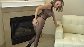 Pristine Edge Dressed In Fishnet Outfit Masturbates And Gets Fucked