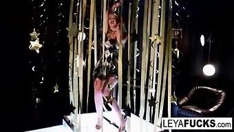 Leya Falcon Strips At A Gold Covered Strip Club