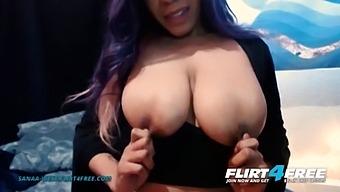 Sanaa West - Flirt4free - Ebony Babe W Huge Tits Sucks Her Perfect Nipples