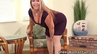 Busty Mature Joclyn Stone Exposes Her Hairy Pussy