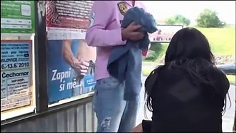 A Big Natural Breasted Brunette In Public Street Bus Stop Threesome Orgy Gang Bang With 2 Hung Guys With Big Dicks Fucking Her With A Blowjob And Vaginal Pussy Sex Action In Front Of All The Car, Bus, And Truck Drivers And People Walking On The Street