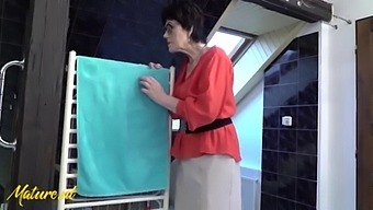 60 Year Old Step-Granny Spying On Her Virgin Stepson & Surprises Him