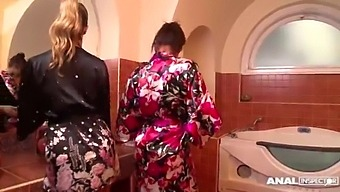 Outstanding Anal Dp In The Bathroom With Eva Parcker And Katia De Lys