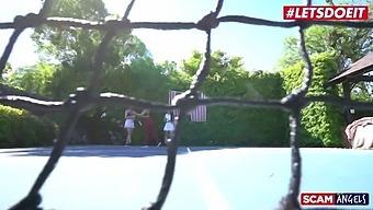 Scamangels - Katrina Jade And Kenzie Madison Slutty American Teens Threesome With Cheating Husband
