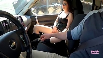 Slutty Kelly Fucks Dildo While On Car Ride With Her Brother