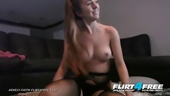 Ashely Faith - Flirt4free - Hot Dirty Girl Next Door With Black Stockings Plays With Her Pussy