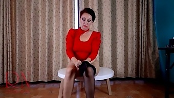 Nice Lady In Pantyhose And Heels. Striptease At The Round Table 1