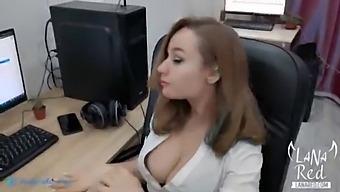 Horny Secretary Sucks And Fucks Boss'S Big Dick To Creampie - Caught Masturbating At Workplace - Lana Red