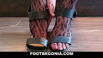 My Black Leopard Stockings And Hot Feet, Toes Closeup Foot Worship
