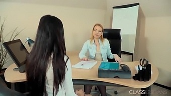 Rebecca And Ashley Lesbian Sex In The Office For The First Time