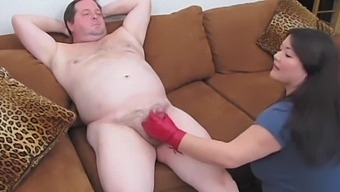 Asian Japanese Eurasian Chubby Bbw Milf Kelly Shibari Gives Red Leather Gloved Hj To 2 Chubby Dudes