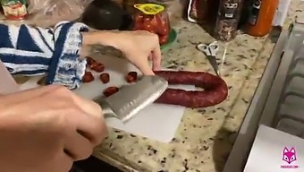 Kitchen Quickie - Brooke Foxxx Cuts Meat Then Takes Meat - Thefoxxxlife -