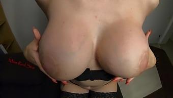 Massaging My Puffy Big Tits Close Up Transformation Of My Nipples