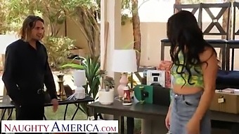 Naughty America - Hot Brunette Alice Visby Goes To Yard Sale And Ends Up Getting Railed By A Married Man