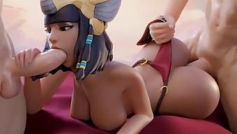 Pharah Double Penetration Fuck