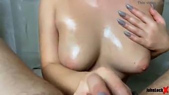 Cumshot On Huge Tits Girl After Handjob