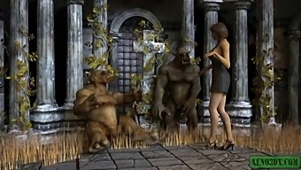 Double Penetrated By Ogres. 3dx Animation